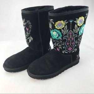 UGG Juliette Black Embroidered Boots #1005760